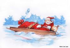 Santa in Laos Christmas Cards